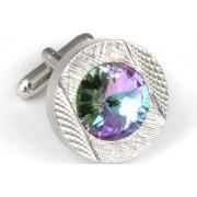 Mousie Bean Crystal Cufflinks Round 70's 083 Vitrail Light