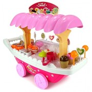 Sweet Shop Trolley Kitchen Cart Luxury Battery Operated with Music & LED Lights Ice Cream Trolley Shop Set for Kids Set Birthday Gift 3+ Age,