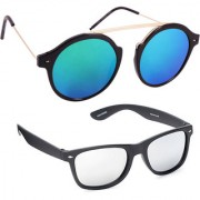Derry Combo Of Blue Mirrored Round And Silver Mirror Wayfarer Sunglasses
