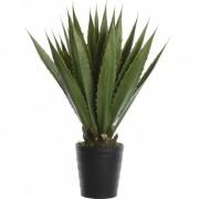 Shoppartners Groene agave kunstplanten 85 cm met zwarte pot - Kunstplanten