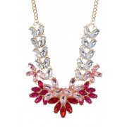 Free Press Floral Stone Statement Necklace CLEAR-RED MULTI-GOLD