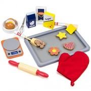 Toddler Girl Toys Playset, 17-piece Wooden Baking Food Bakery Kids Toys Playsets