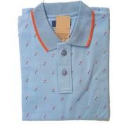 Men's Sky Blue Polo Collar T-Shirt Cotton T Shirts
