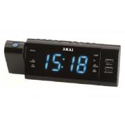 Projektoros (kivetítős) ébresztőórás rádió, FMAM, 2 x USB, ACR-3888