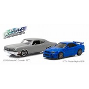 """1970 Chevrolet Chevelle Ss Matt Grey And 2002 Nissan Skyline Gt R Blue Drag Scene """"Fast And Furious"""" Movie (2009) Diorama Set 1/43 By Greenlight 86252"""
