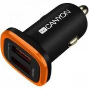 Зарядно Canyon CNE-CCA02B, от автомобилна запалка към 2x USB (ж), 5V, 2.1A, черно, CNE-CCA02B