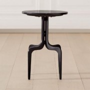 Dorset Round Black Marble Side Table by CB2