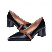 Señora Middle-Heel De Corte Bajo, Mary Jane Shoes Señaló Toe PU Con Tacón Cuadrado Negro
