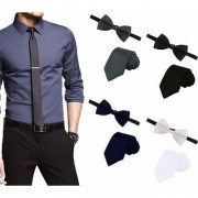 Billebon Men's Combo of 4 Classic Satin Slim Neckties with Bow Ties Free Size(Black Grey Navy Blue White 4 T-BT-CMB