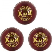 KDM Sports Magic Cricket Leather Ball (Pack of 3 Maroon)