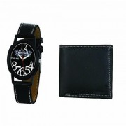 Crude Analog Watch-rg679 With Black Leather Wallet