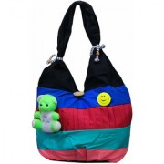 ATORAKUSHON Synthetic Cotton Small Teddy Style Hand Bag for Women(Blue). TEDDY AND BACH CLG BAG.