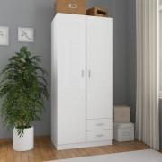 vidaXL Гардероб, бяло със силен гланц, 80x52x180 см, ПДЧ