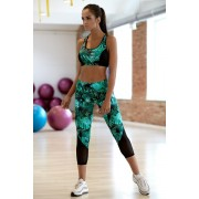 Patricia 3/4-es funkcionális leggings levelekkel, zöld M