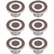 Doyours Chrome Round Cabinet Knob White Metal - Set of 6