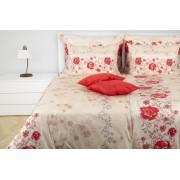 1 Glamonde Povlečení s růžemi Rosella béžovomeruňková 70×90 cm 140×200 cm zipové