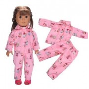 "EatingBitingRDoll Chic Pink Fairy Tales Story Pajamas Sleeping Wear Set For 18"" 45cm American Girl Doll , Doll Clothing Clothes Outfit , Holidays Christmas X'mas Halloween Gifts"