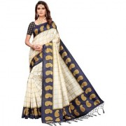 Indian Beauty Women's Navy Blue Color Mysore Silk Printed Saree Border Tassels With Blouse Piece(WEDDING-PATTA-NAVY BLUE_Free Size)