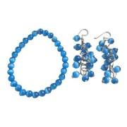 6mm Dark Blue Glass Cats Eye Stone Bead Dangling Earrings Bracelet