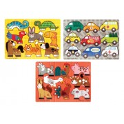 Melissa & Doug Mix 'n Match Wooden Peg Puzzles - Animals and Cars, Multi Color
