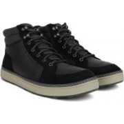 Clarks Lorsen Top Black WLined Lea Boots For Men(Black)