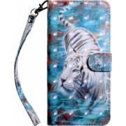 Husa flip cover design 3D Downhill Tiger Samsung A80 multicolor cu sloturi card bani si suport stand