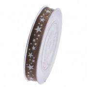 Szalag fehér csillagokkal 15mmx15m barna