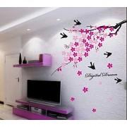 Walltola PVC Multicolor Floral Branch With Birds Wall Sticker (59X36 Inch) (No of Pieces 1)