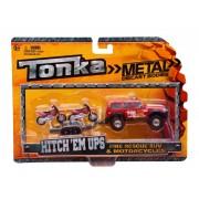 Minimodel metalic cu remorca si motociclete rosii