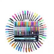 Toyvian 48pcs Color Gel Ink Pens Set 1.0mm Colour Pen Kit for Colouring Books Draw Write