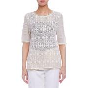 【78%OFF】透かし編み 半袖ニットトップ ホワイト 42 ファッション > レディースウエア~~その他トップス