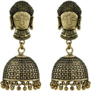 Buddha German Silver Antique Gold Plated Artificial Jewellery Jhumka Earring Set For Women And Girls