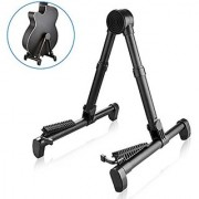 AK Folding Guitar Stand Extendable A Frame Portable Lightweight Travel Stands for Musical Instruments (Black)
