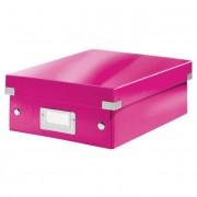 Tárolódoboz, rendszerező, PP, karton, S méret, LEITZ \Click&Store\, rózsaszín