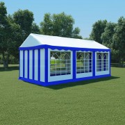vidaXL Pavilion de grădină, albastru și alb, 3 x 6 m, PVC