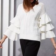 Suéter Suelto Con Manga Ancha Y Larga Para Mujer - Blanco