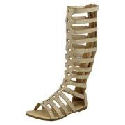 Sandale gladiator fetite cu talpa plata auriu