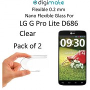 Digimate Nano Clear 0.2 mm Screen Guard Protector Flexible Glass for LG G Pro Lite D686 (Pack of 2)