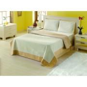 Cuvertura de pat Valentini Bianco dubla 240x240cm cu doua fete de perna de 40x40 cm Rustic Collection Model YT002 Maro