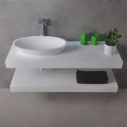 Wastafelblad Ideavit Solidplus Rechthoek 90x46x8cm Solid Surface Mat Wit Zonder Kraangat