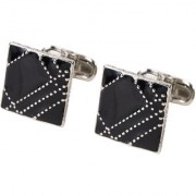 69th Avenue Men's Black Silver Plated Adjustable Square Shaped Cufflinks