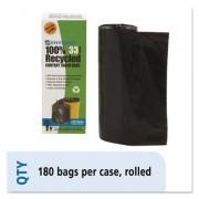 Recycled Plastic Trash Bags, 33 Gal, 1.3 Mil, 33 X 40, Brown/black, 180/carton