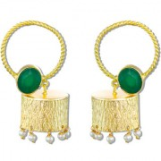 Zaveri Pearls Semi Precious Green Emerald Earrings Hoop Look Earrings With Textured Drum Jhumka Pearl Drops - ZPFK5053