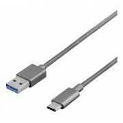 Deltaco PRIME USB3.1, Typ C ha - Typ A ha, 1m, grå