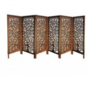 Shilpi Handcrafted 6 Panel Small Wooden Room Partition Wooden Room Divider Screen Panel (48 X 20 INCH)
