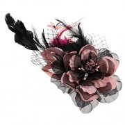 ELECTROPRIME Fabric Flower Mesh Pin Corsage Flowers Brooch Hair Pins with Barrette Khaki