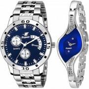 Espoir Analog Stainless Steel Blue Dial Couple Watch - Espoir9710