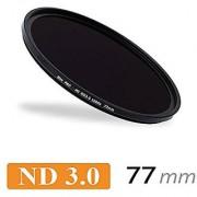 CameraPlus - Professional 77mm Slim S-PRO1 MC Neutral Density ND 3.0 Filter 1000x - 10 Stops + Free alimimium screw-in f