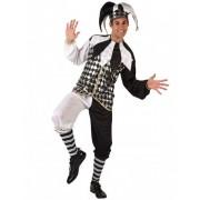 Vegaoo Harlekin Kostüm für Herren schwarz-weiss