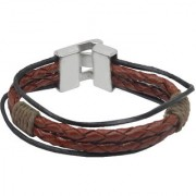 Sullery Rope Type Biker Brown Leather Bracelet For Men And Women